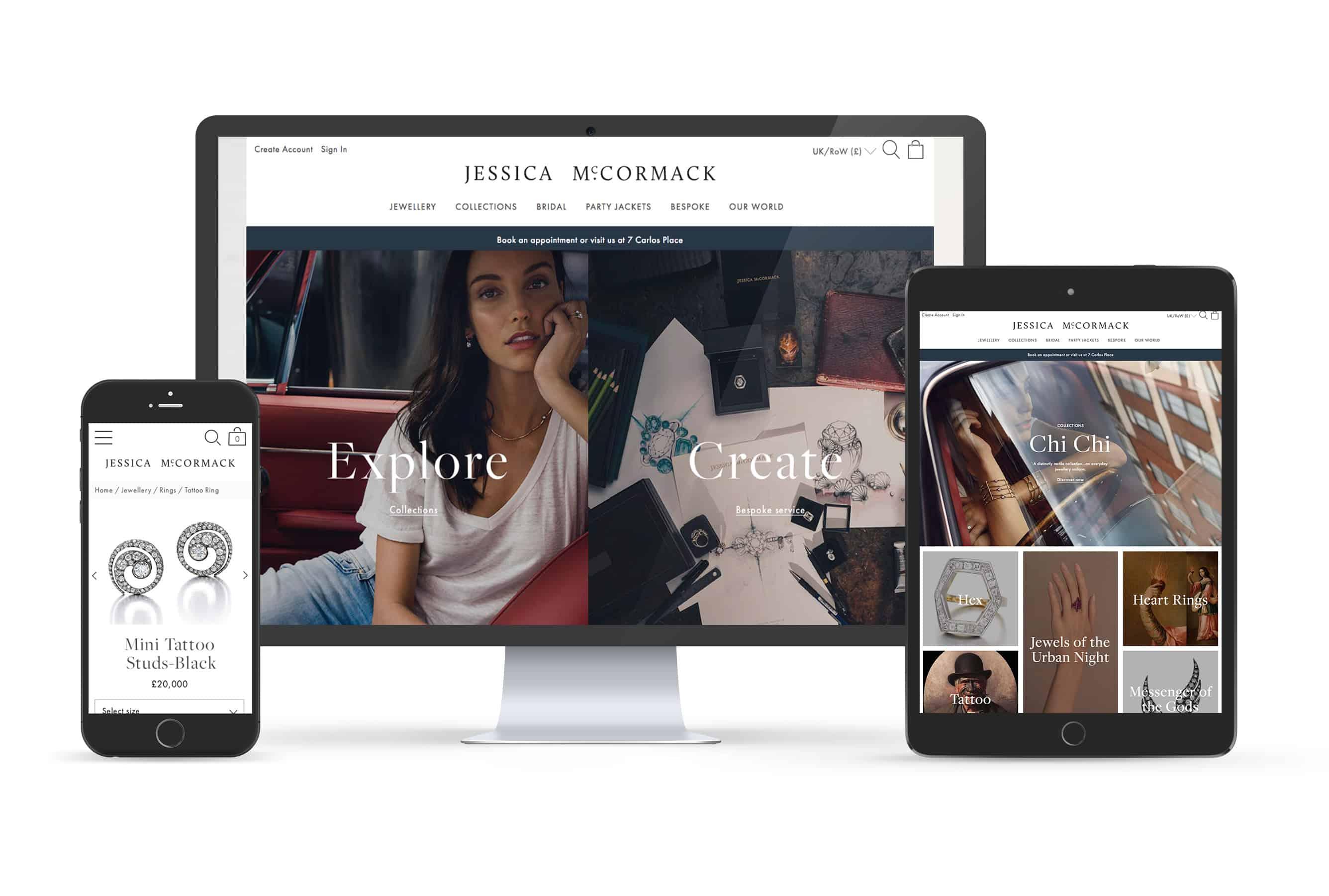 Jessica McCormack website design responsive views