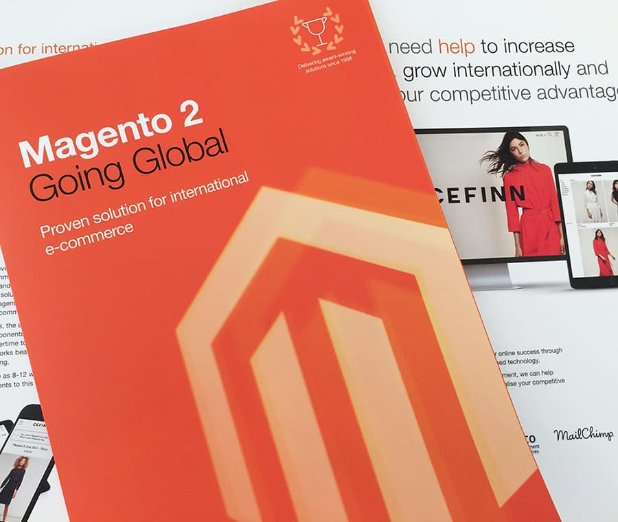 Promotional brochure design for Magento product offering