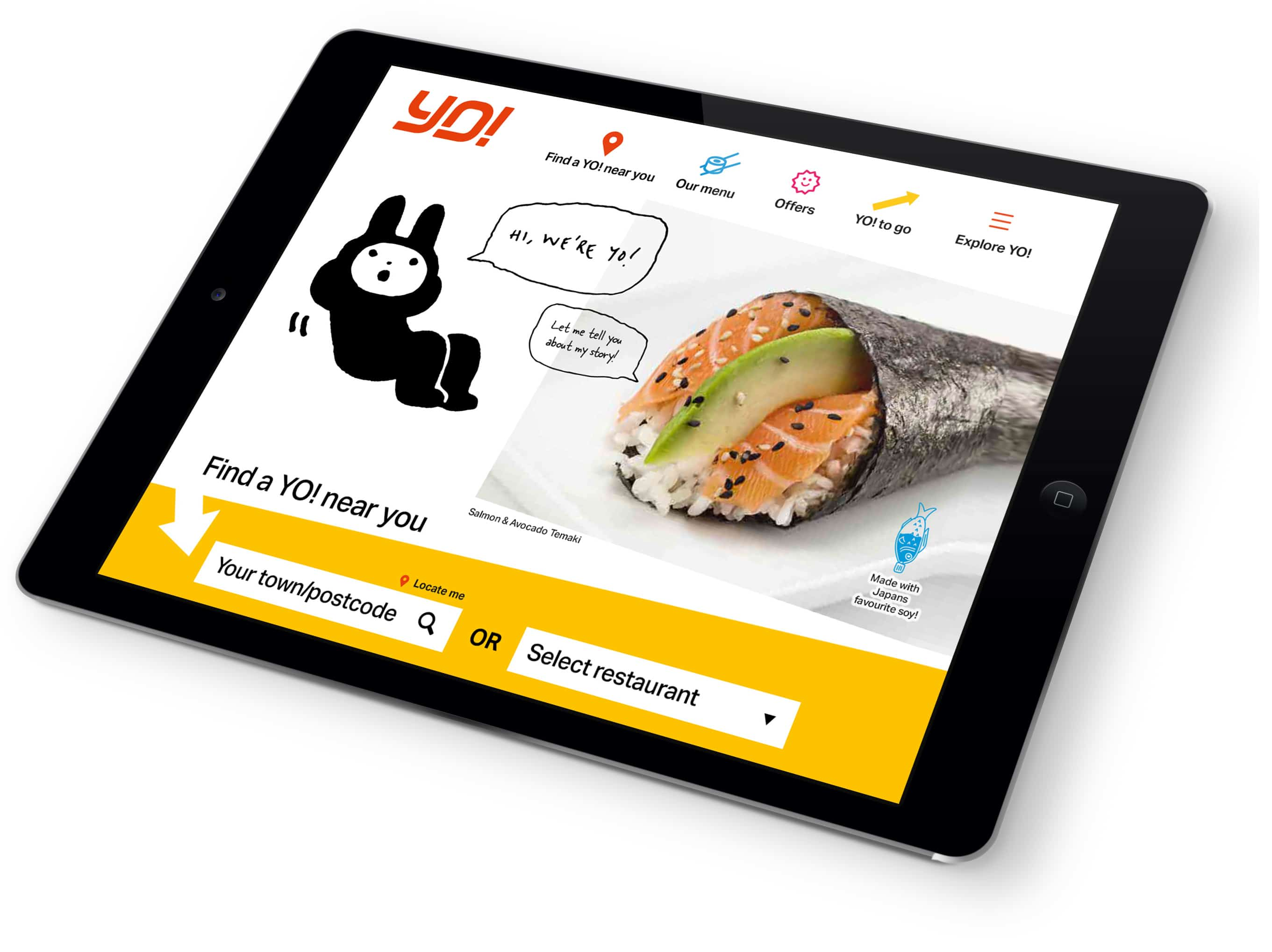 YO! Sushi ipad home